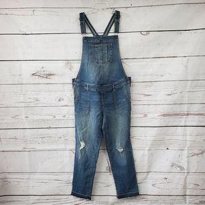 Indigo Blue distressed maternity overalls